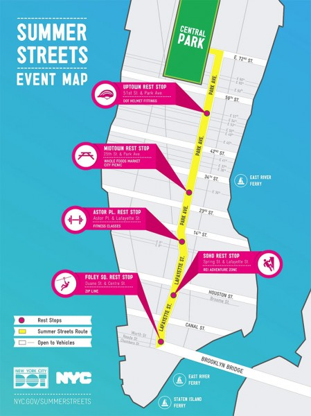 Summer Streets 2012 route from Brooklyn Bridge to Central Park. (Courtesy NYC DOT)