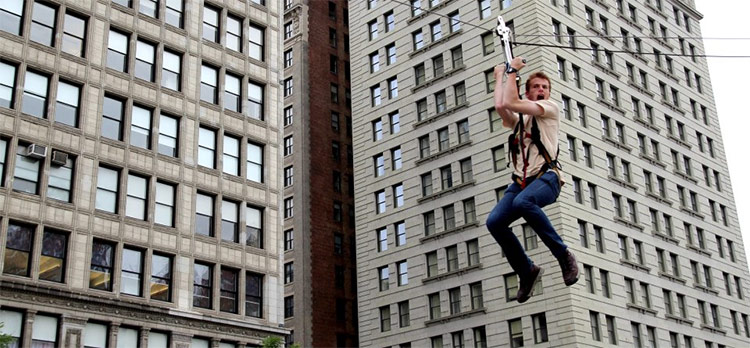 New to Summer Streets this year, a zip line in Union Square. (Courtesy NYC DOT)