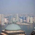 A dome at the World Financial Center and New Jersey beyond.