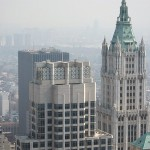 The crown of the Woolworth Building viewed from the top of Four World Trade.