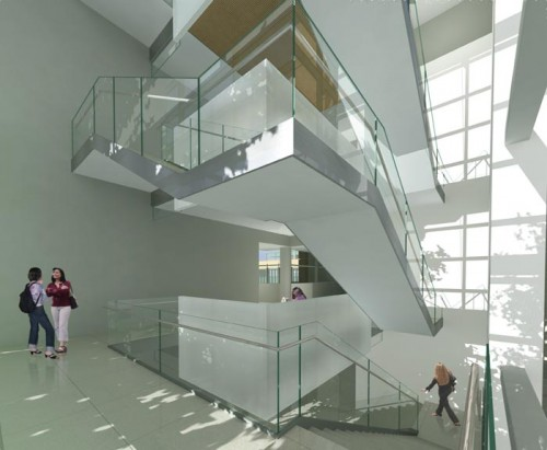 A rendering of the stair atrium, shows region where the teaching wing meets the research wing.