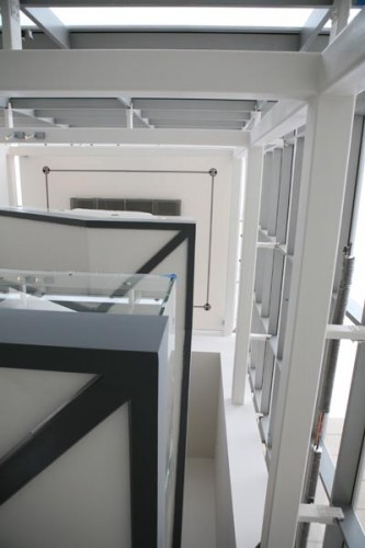 Looking up the the stairwell atrium.