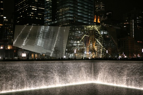 The September 11th Memorial at night.
