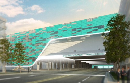 The Convention Center is designed to bridge over  LA's Pico Boulevard (AEG, Populous)