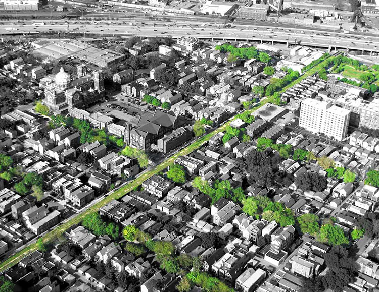 Overhead view of the Bloomingdale Trail. (Courtesy Michael Van Valkenburgh Associates)