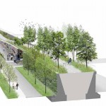 The linear park will vary in height along its course. (Courtesy Michael Van Valkenburgh Associates)