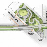 Milwaukee-Leavitt Access Park enlargement plan. (Courtesy Michael Van Valkenburgh Associates)