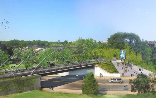 Proposed view of Milwaukee Avenue Bridge and Overlook Stair. (Courtesy Michael Van Valkenburgh Associates)
