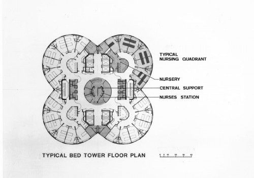 Typical bed tower floor plan at the Prentice Women's Hospital. (Courtesy G. Goldberg + Associates)