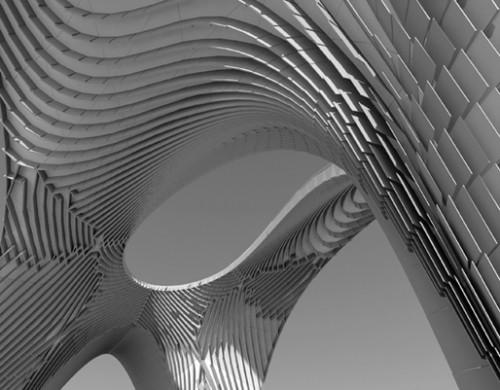Rendering of Zaha Hadid's Pleated Shell Structures installation at SCI-Arc. (Courtesy Zaha Hadid)