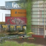 Collision Works would be a boutique hotel made from shipping containers in Detroit's Eastern Market area. (Courtesy Detroit Collaborative Design Center.)