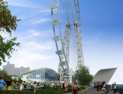 The planned New York Wheel development includes the world's tallest Ferris wheel. (Courtesy NYC Mayor's Office)