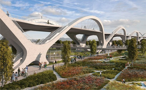 HNTB'S PROPOSAL FOR THE SIXTH STREET VIADUCT REPLACEMENT IN LOS ANGELES. (Courtesy HNTB)