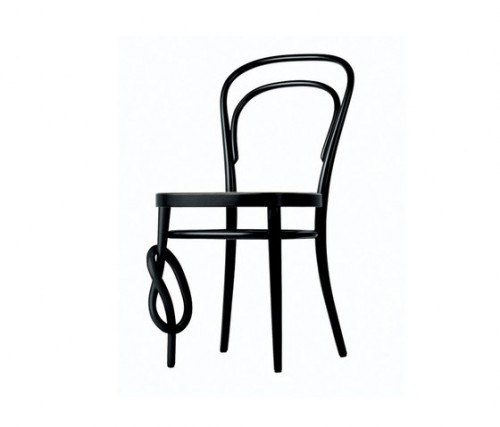 "The special ""knotted"" version of Thonet's coffee house chair."