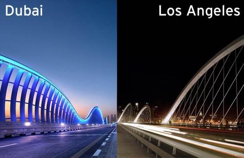Dubai's Meydan Bridge, left, and LA's Sixth Street Viaduct, right.