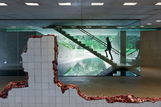 Ground floor of Adriana Varejão Gallery by Rodrigo Cerviño Lopez, showing installation Linda do Rosário (2004–2008) by Adriana Varejão. (Iwan Baan)