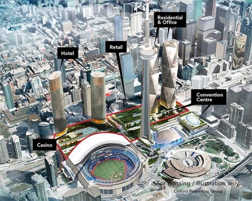 Proposed redevelopment of the Metro Toronto Convention Center. (Courtesy Oxford Properties)