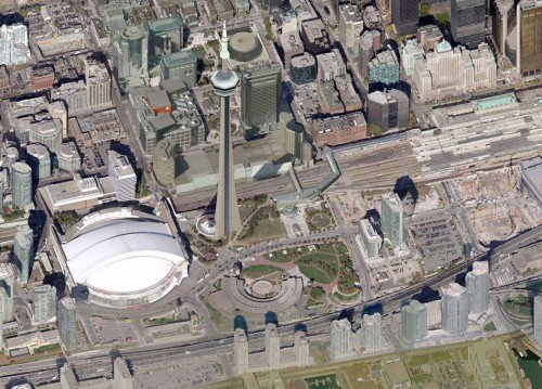 Aerial view of current site conditions. (Courtesy Bing Maps)