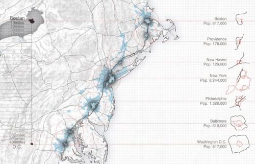 Höweler + Yoon studied the BosWash corridor connecting Boston and Washington, D.C. (Courtesy Höweler + Yoon)
