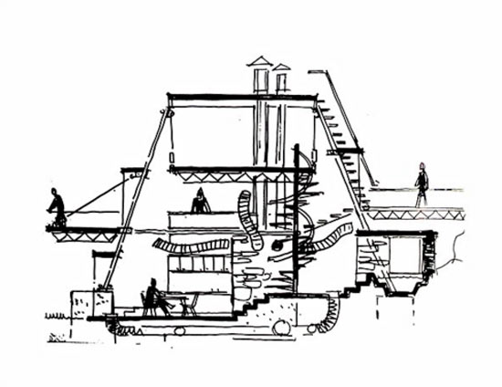 A sketch of the Plastic Tent House by Johansen.