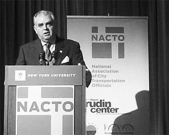 Secretary of Transportation Ray LaHood addresses the NACTO Designing Cities conference in New York. (Courtesy NYC DOT)