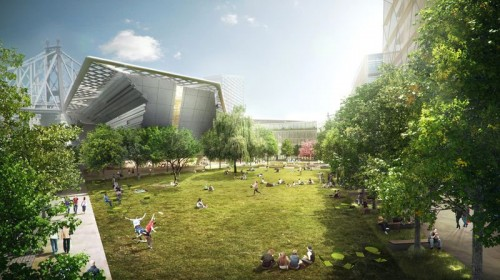 Morphosis' design for the first Phase of the Cornell Technion campus on Roosevelt Island. (Courtesy Kilograph)