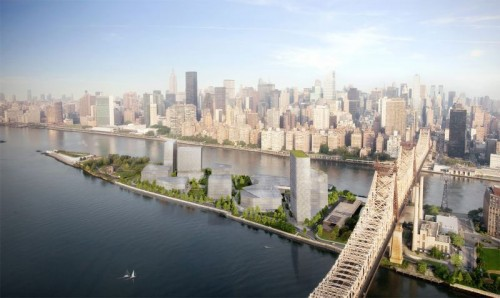 Updated rendering showing the planned Cornell Technion campus on Roosevelt Island. (Courtesy Kilograph)