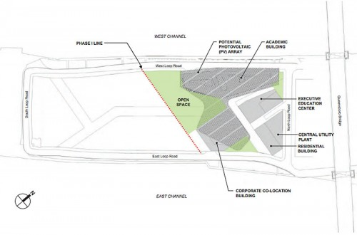 Site plan for phase one of the Cornell Technion campus on Roosevelt Island. (Courtesy Morphosis)