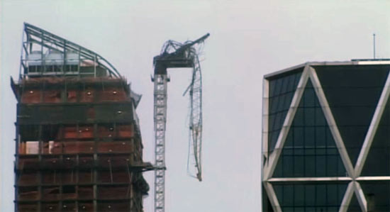 Partial crane collapse at Manhattan's One 57 tower. (CBS News via Observer)