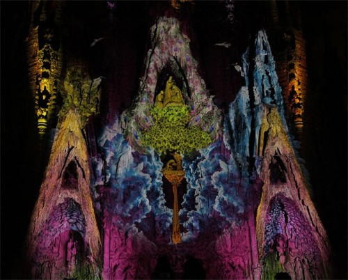 Gaudi's Segrada Familia awash in psychedelic light. (Courtesy Moment Factory)