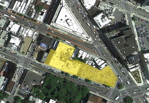 Aerial view of The Hub building site (Courtesy Dattner Architects)