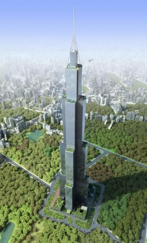Sky City Changsha Rendering From Above (Courtesy Broad Group)