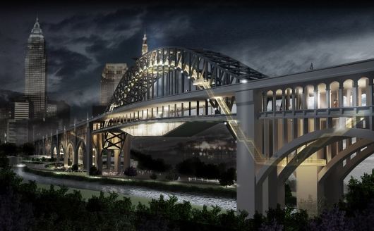 """Bridgewalk"" from New York's Archilier Architecture reimagined Cleveland's Detroit-Superior Bridge."