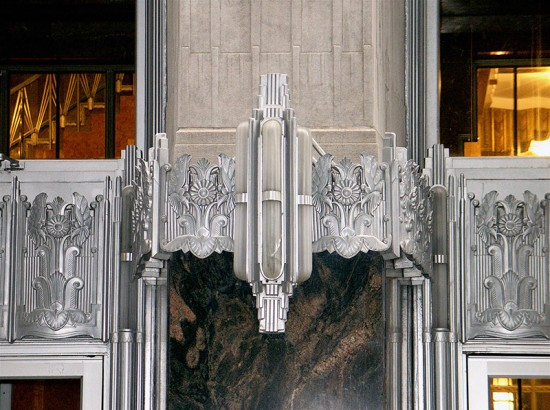 Art-Deco detailing on the exterior of 70 Pine. (Sandra Cohen-Rose and Colin Rose/Flickr)