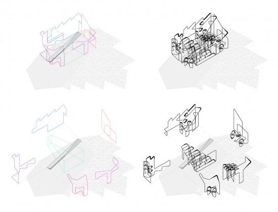 Axonometric showing assembled figural drawings in space
