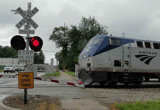An Amtrak train in Niles, Ill. (Courtesy Wayne Senville, Planning Commissioners Journal)