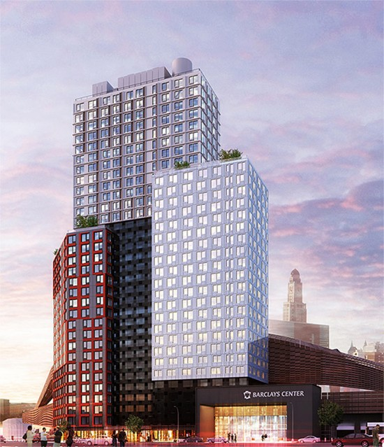 The first tower at Atlantic Yards will be built of prefabricated units. (Courtesy SHoP)