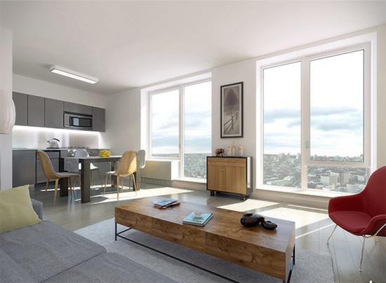 Interior view of a residence in the Atlantic Yards B2 Tower. (Courtesy SHoP Architects)