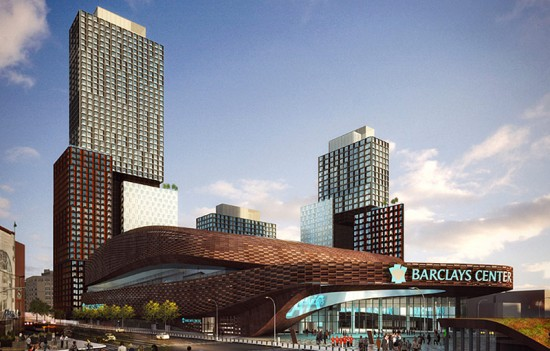 Rendering shows the first three towers planned at Atlantic Yards. (Courtesy SHoP Architects)