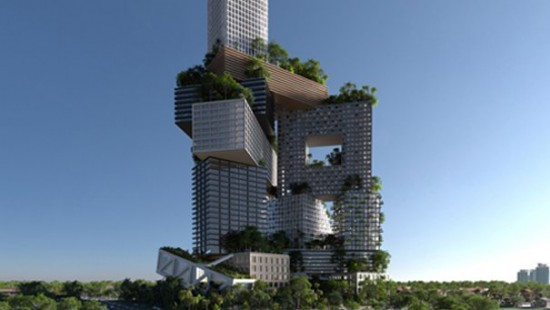 Stacked towers of Peruri 88 (Courtesy MVRDV)