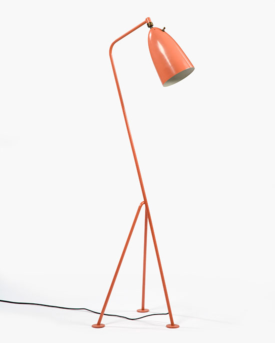 Grasshopper floor lamp in coral paint, 1947-48. (Courtesy PMCA)