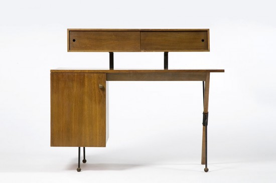 Desk in walnut and wrought iron with pencil box, 1952. (Courtesy PMCA)