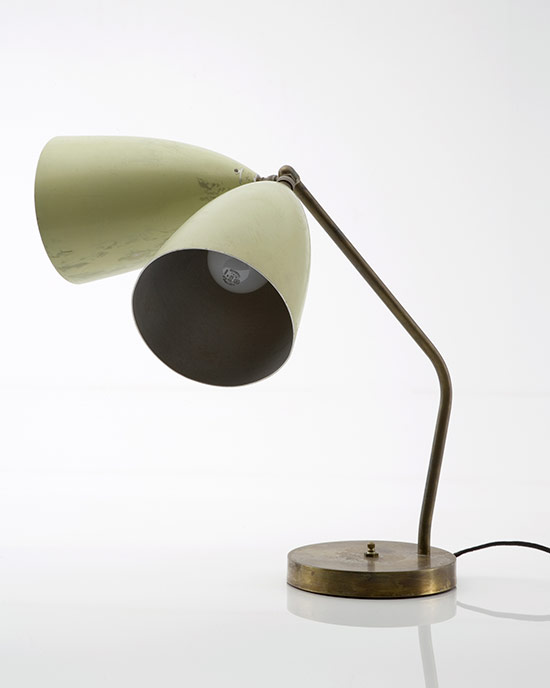 Two-shaded white table lamp in aluminum and steel, 1947-48. (Courtesy PMCA)