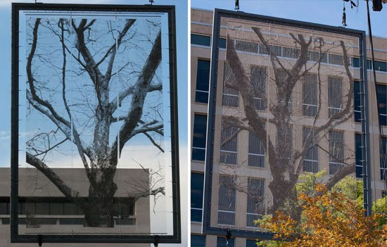 Mock-up tapestry panels for Gehry's Eisenhower Memorial. (Courtesy NCDC)