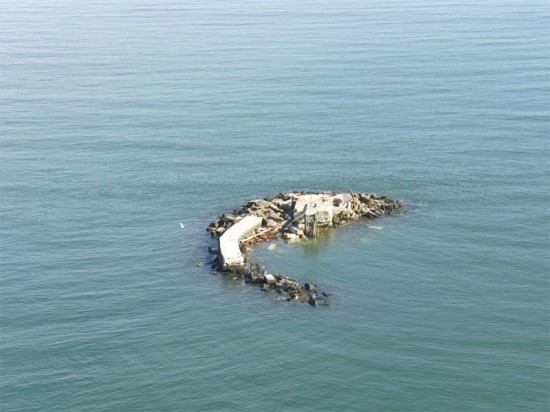 Remains of the Old Orchard Shoal Lighthouse after Hurricane Sandy. (Courtesy US Coast Guard)