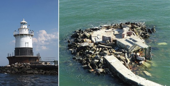 The Old Orchard Shoal Lighthouse before and after Hurricane Sandy. (Courtesy US Coast Guard)