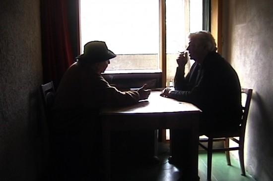 Raimund Abraham and Lebbeus Woods have a discussion in a monk's cell at La Tourette.