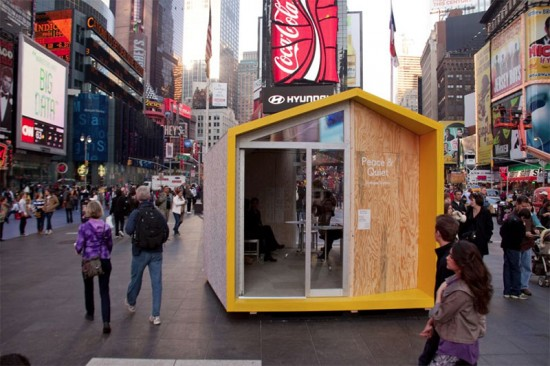 "Matter's ""Peace & Quiet"" installation in Times Square. (Courtesy Times Square Alliance)"