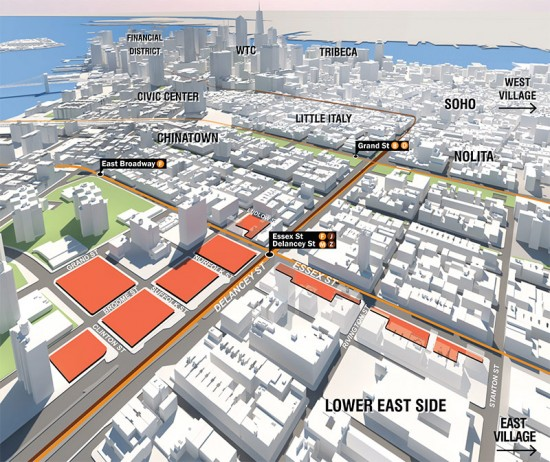 Seward Park Urban Renewal Area marked in Orange. (Courtesy NYCEDC)