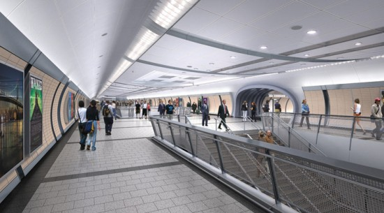 Rendering of the Lower Mezzanine above tracks. (Courtesy Dattner Architects)